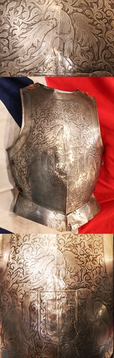 A Superb Antique Historismus Armour Breastplate Stunningly Etched With Heraldic Beasts